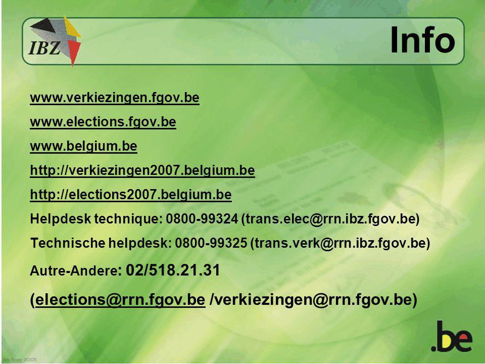 Info www.verkiezingen.fgov.be www.elections.fgov.be www.belgium.be http://verkiezingen2007.belgium.be http://elections2007.belgium.be Helpdesk technique: 0800-99324 (trans.elec@rrn.ibz.fgov.be) Technische helpdesk: 0800-99325 (trans.verk@rrn.ibz.fgov.be) Autre-Andere : 02/518.21.31 (elections@rrn.fgov.be /verkiezingen@rrn.fgov.be)elections@rrn.fgov.be