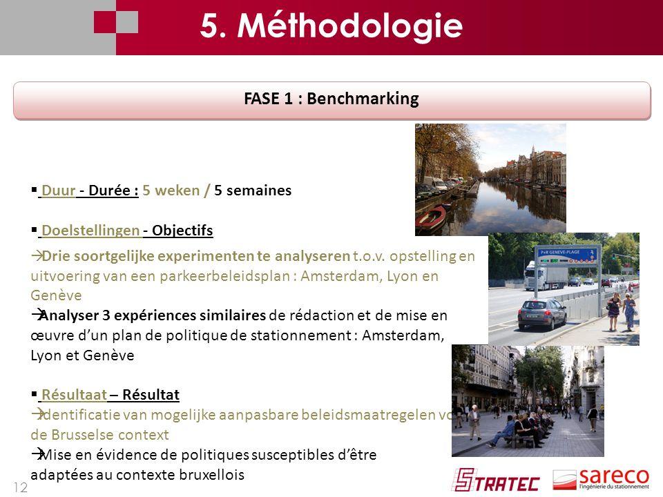 12 FASE 1 : Benchmarking  Duur - Durée : 5 weken / 5 semaines  Doelstellingen - Objectifs  Drie soortgelijke experimenten te analyseren t.o.v.