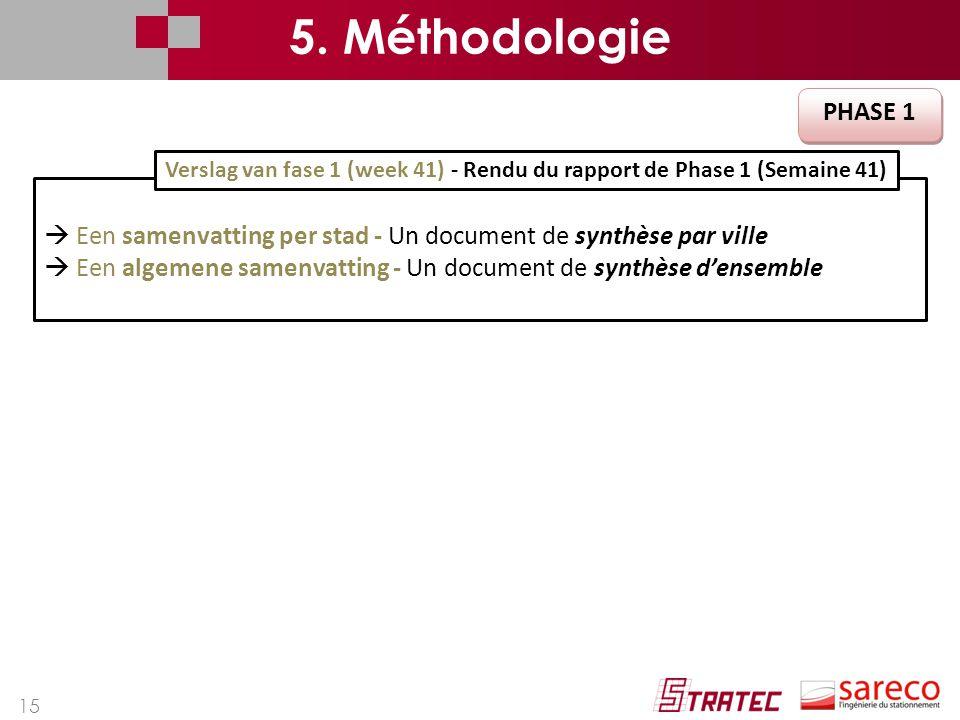 15 PHASE 1  Een samenvatting per stad - Un document de synthèse par ville  Een algemene samenvatting - Un document de synthèse d'ensemble Verslag van fase 1 (week 41) - Rendu du rapport de Phase 1 (Semaine 41) 5.