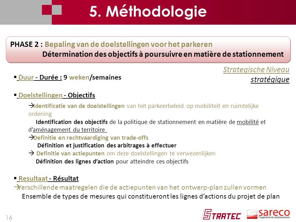 16 PHASE 2 : Bepaling van de doelstellingen voor het parkeren Détermination des objectifs à poursuivre en matière de stationnement PHASE 2 : Bepaling