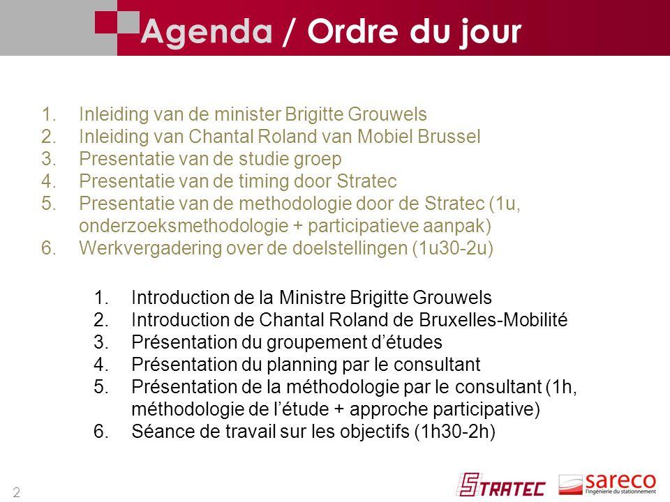 2 1.Inleiding van de minister Brigitte Grouwels 2.Inleiding van Chantal Roland van Mobiel Brussel 3.Presentatie van de studie groep 4.Presentatie van