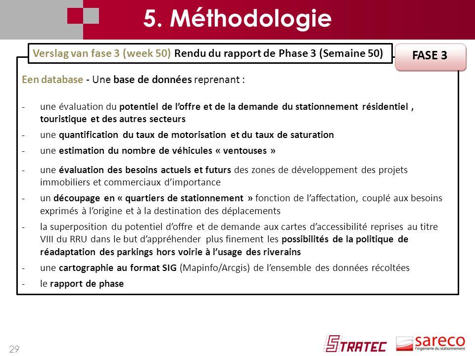 29 Een database - Une base de données reprenant : -une évaluation du potentiel de l'offre et de la demande du stationnement résidentiel, touristique e