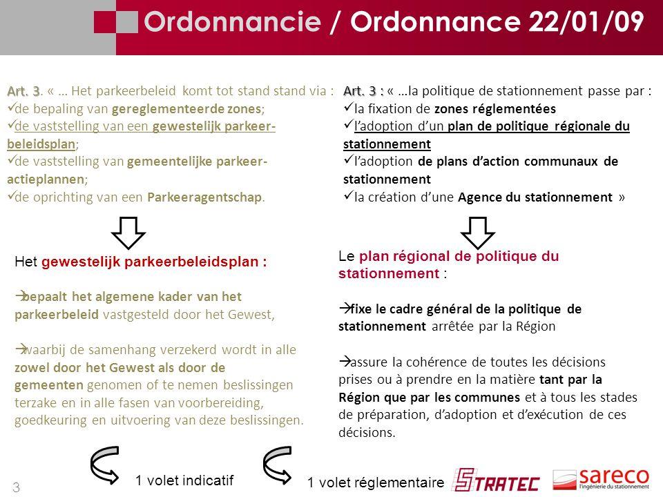 3 Ordonnancie / Ordonnance 22/01/09 Art. 3 Art. 3. « … Het parkeerbeleid komt tot stand stand via : de bepaling van gereglementeerde zones; de vastste