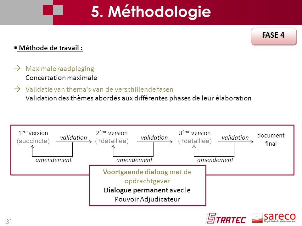 31 FASE 4 5. Méthodologie  Méthode de travail :  Maximale raadpleging Concertation maximale  Validatie van thema's van de verschillende fasen Valid