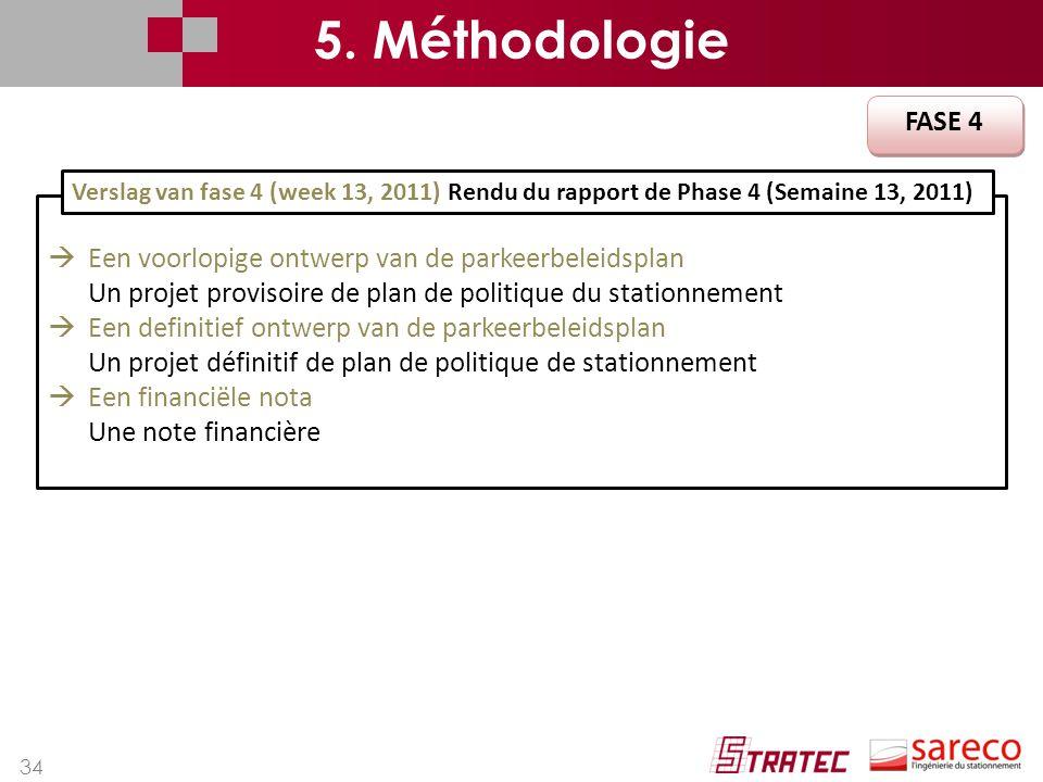 34 FASE 4  Een voorlopige ontwerp van de parkeerbeleidsplan Un projet provisoire de plan de politique du stationnement  Een definitief ontwerp van d