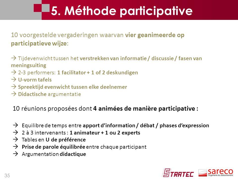 35 10 réunions proposées dont 4 animées de manière participative :  Equilibre de temps entre apport d'information / débat / phases d'expression  2 à