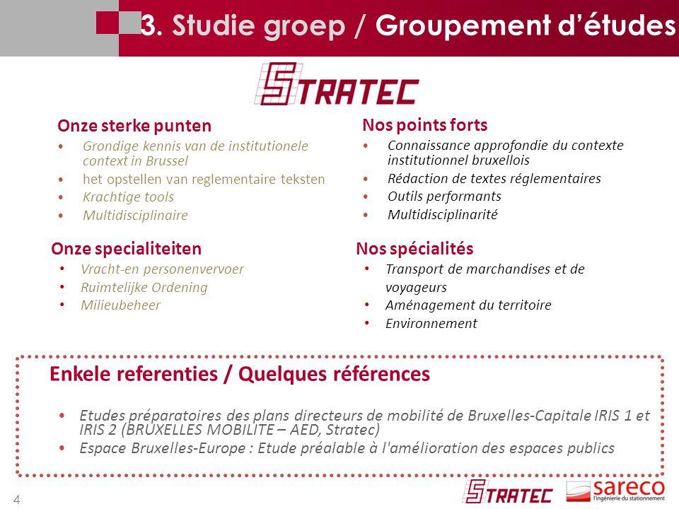 4 3. Studie groep / Groupement d'études Nos points forts Connaissance approfondie du contexte institutionnel bruxellois Rédaction de textes réglementa