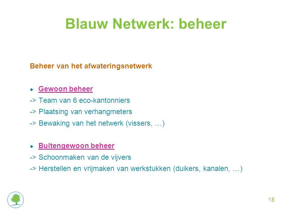 Blauw Netwerk: beheer Beheer van het afwateringsnetwerk ● Gewoon beheer -> Team van 6 eco-kantonniers -> Plaatsing van verhangmeters -> Bewaking van het netwerk (vissers, …) ● Buitengewoon beheer -> Schoonmaken van de vijvers -> Herstellen en vrijmaken van werkstukken (duikers, kanalen, …) 18