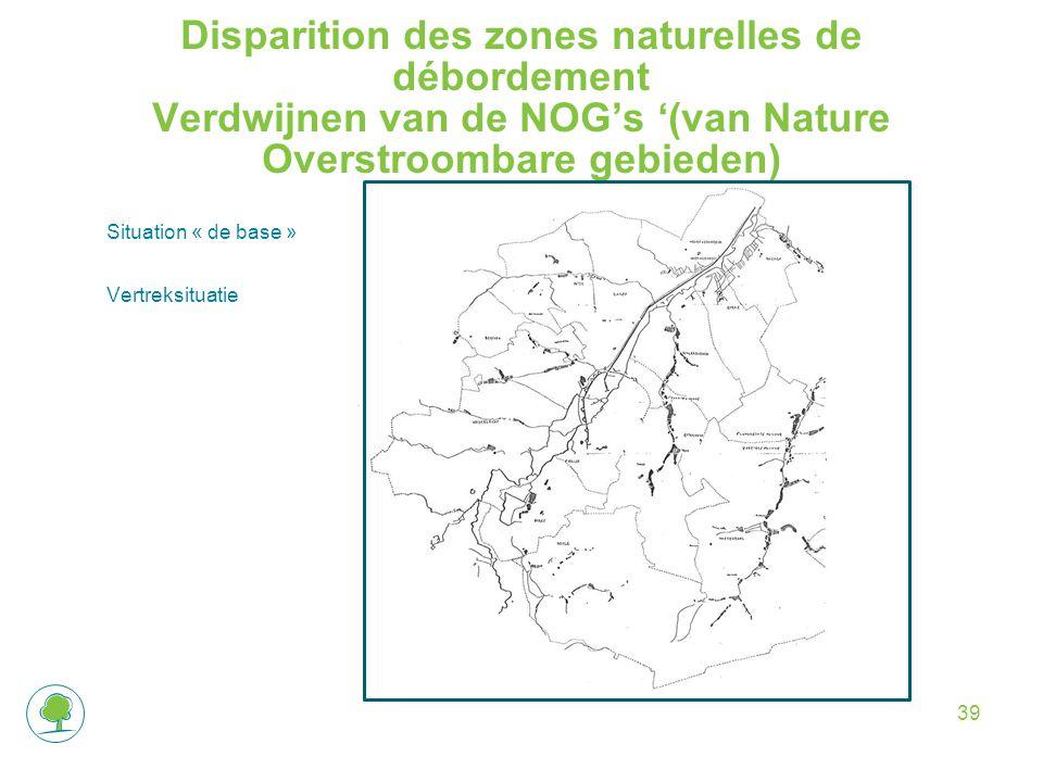 Disparition des zones naturelles de débordement Verdwijnen van de NOG's '(van Nature Overstroombare gebieden) Situation « de base » Vertreksituatie 39