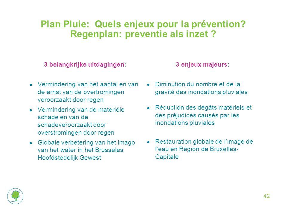 Plan Pluie: Quels enjeux pour la prévention. Regenplan: preventie als inzet .