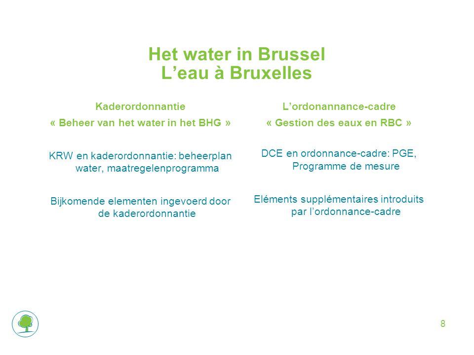 Het water in Brussel L'eau à Bruxelles Kaderordonnantie « Beheer van het water in het BHG » KRW en kaderordonnantie: beheerplan water, maatregelenprogramma Bijkomende elementen ingevoerd door de kaderordonnantie L'ordonannance-cadre « Gestion des eaux en RBC » DCE en ordonnance-cadre: PGE, Programme de mesure Eléments supplémentaires introduits par l'ordonnance-cadre 8