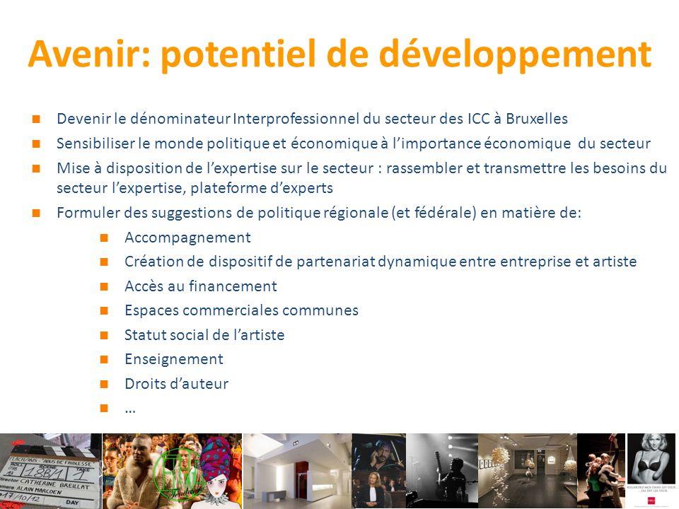 Avenir: potentiel de développement Devenir le dénominateur Interprofessionnel du secteur des ICC à Bruxelles Sensibiliser le monde politique et économique à l'importance économique du secteur Mise à disposition de l'expertise sur le secteur : rassembler et transmettre les besoins du secteur l'expertise, plateforme d'experts Formuler des suggestions de politique régionale (et fédérale) en matière de: Accompagnement Création de dispositif de partenariat dynamique entre entreprise et artiste Accès au financement Espaces commerciales communes Statut social de l'artiste Enseignement Droits d'auteur …