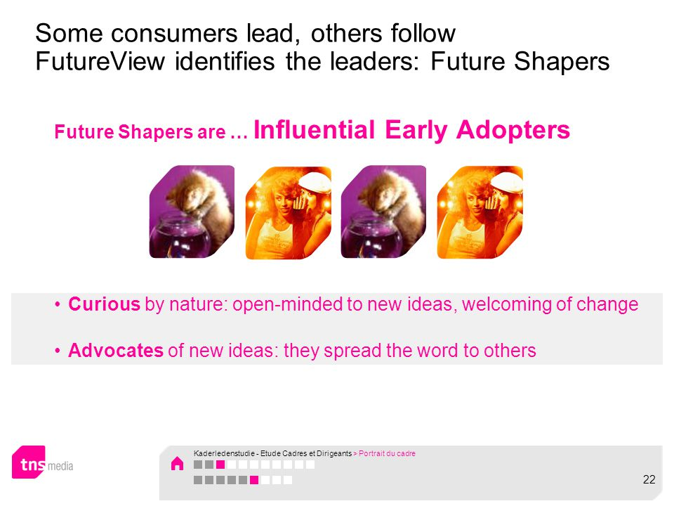Future Shapers are … Influential Early Adopters Curious by nature: open-minded to new ideas, welcoming of change Advocates of new ideas: they spread the word to others Some consumers lead, others follow FutureView identifies the leaders: Future Shapers Kaderledenstudie - Etude Cadres et Dirigeants > Portrait du cadre 22