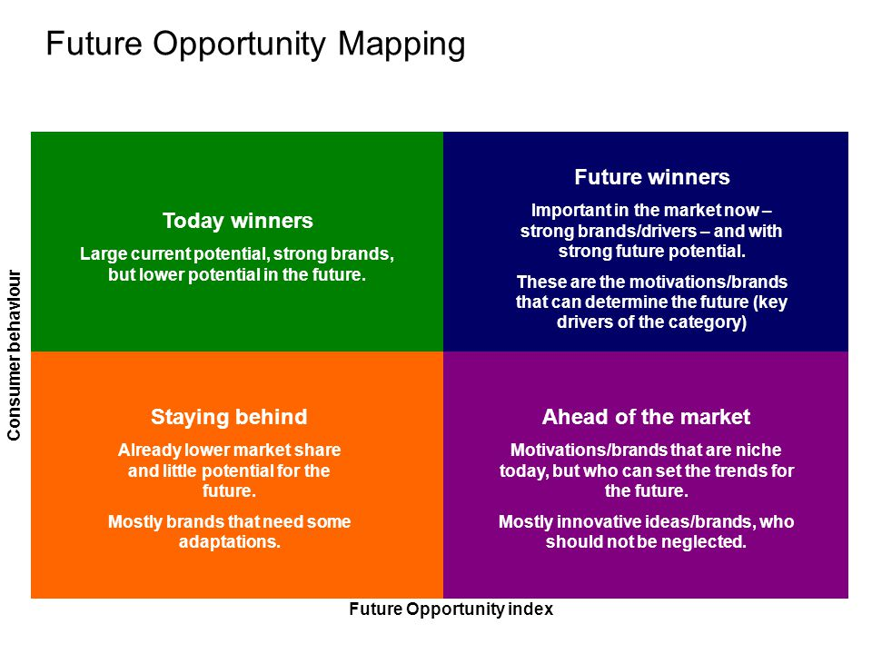 Future Opportunity Mapping Consumer behaviour Ahead of the market Motivations/brands that are niche today, but who can set the trends for the future.