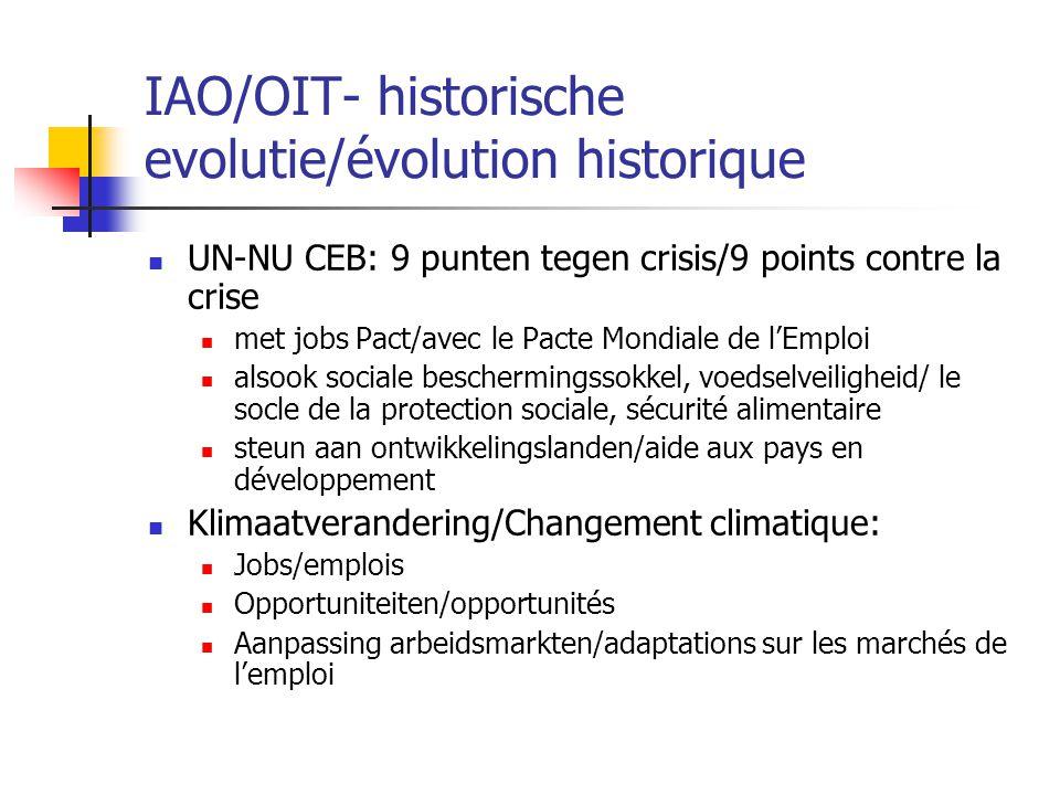 IAO/OIT- historische evolutie/évolution historique UN-NU CEB: 9 punten tegen crisis/9 points contre la crise met jobs Pact/avec le Pacte Mondiale de l