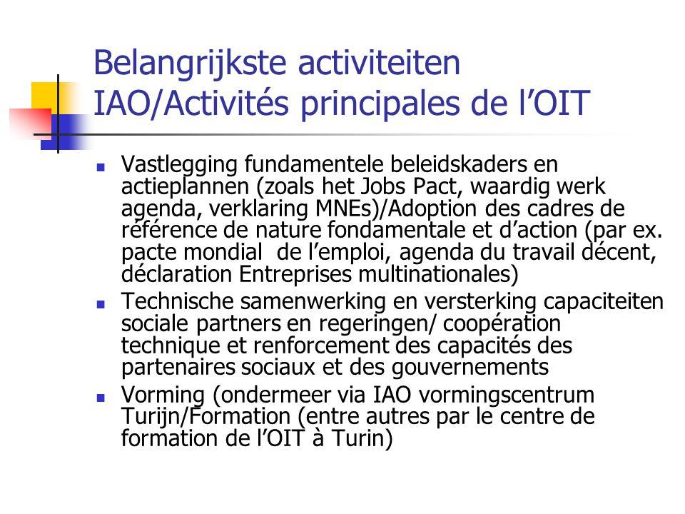 Belangrijkste activiteiten IAO/Activités principales de l'OIT Vastlegging fundamentele beleidskaders en actieplannen (zoals het Jobs Pact, waardig wer
