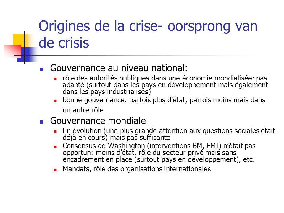 Origines de la crise- oorsprong van de crisis Gouvernance au niveau national: rôle des autorités publiques dans une économie mondialisée: pas adapté (