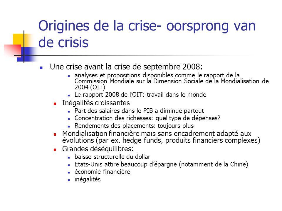 Origines de la crise- oorsprong van de crisis Une crise avant la crise de septembre 2008: analyses et propositions disponibles comme le rapport de la