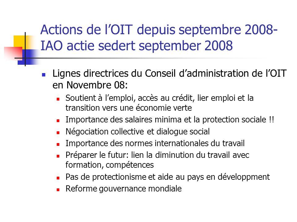 Actions de l'OIT depuis septembre 2008- IAO actie sedert september 2008 Lignes directrices du Conseil d'administration de l'OIT en Novembre 08: Soutie
