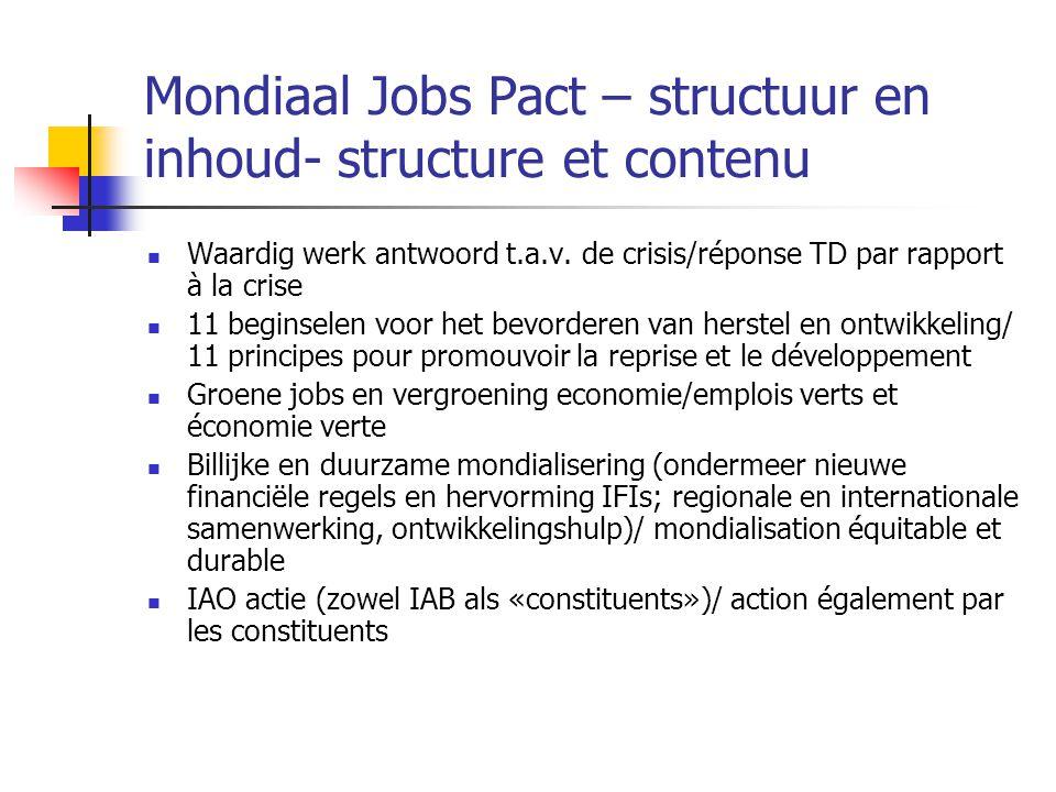 Mondiaal Jobs Pact – structuur en inhoud- structure et contenu Waardig werk antwoord t.a.v. de crisis/réponse TD par rapport à la crise 11 beginselen