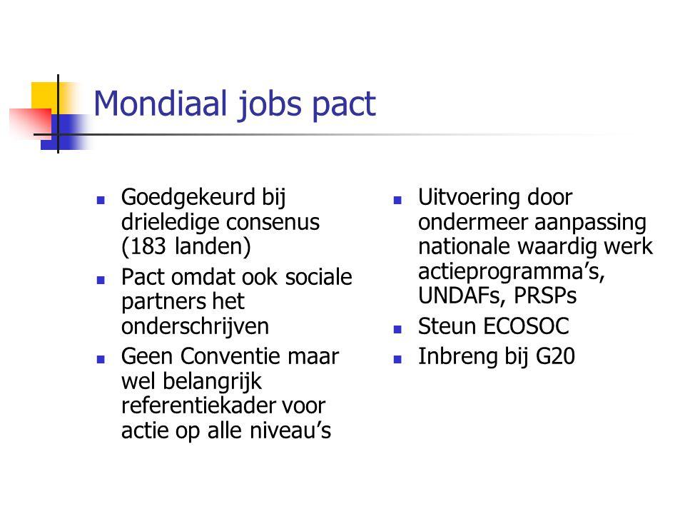 Mondiaal jobs pact Goedgekeurd bij drieledige consenus (183 landen) Pact omdat ook sociale partners het onderschrijven Geen Conventie maar wel belangr