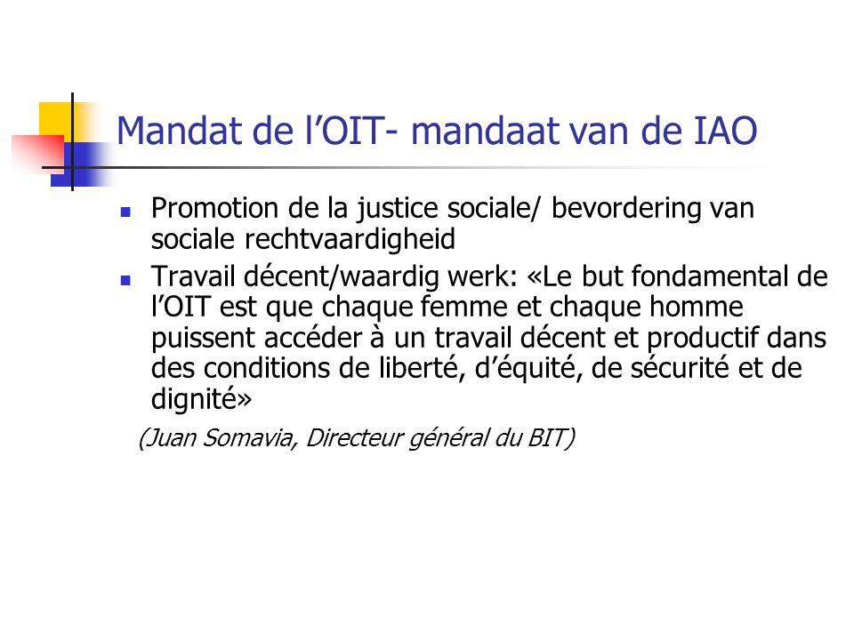Promotion de la justice sociale/ bevordering van sociale rechtvaardigheid Travail décent/waardig werk: «Le but fondamental de l'OIT est que chaque fem
