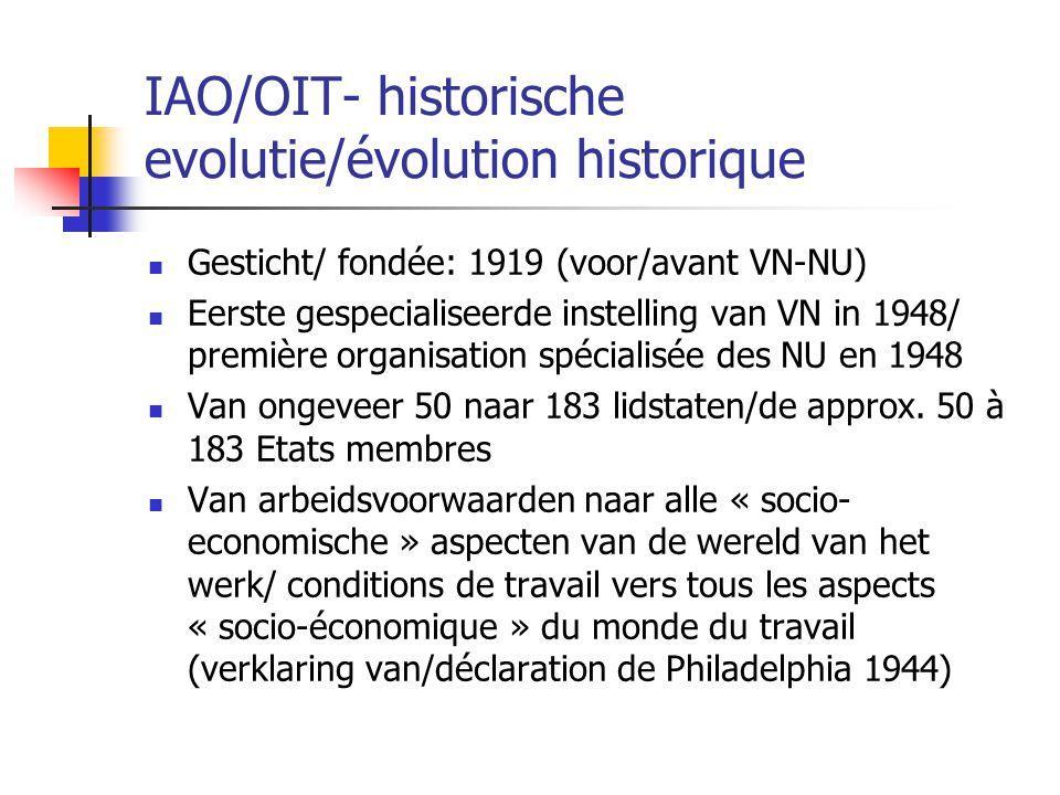 IAO/OIT- historische evolutie/évolution historique Gesticht/ fondée: 1919 (voor/avant VN-NU) Eerste gespecialiseerde instelling van VN in 1948/ premiè