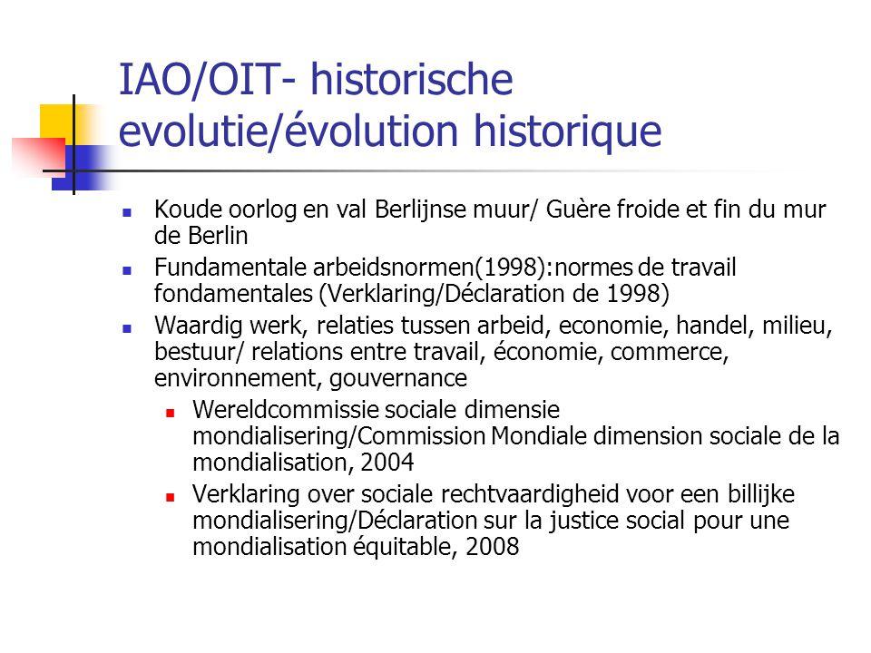 IAO/OIT- historische evolutie/évolution historique Koude oorlog en val Berlijnse muur/ Guère froide et fin du mur de Berlin Fundamentale arbeidsnormen