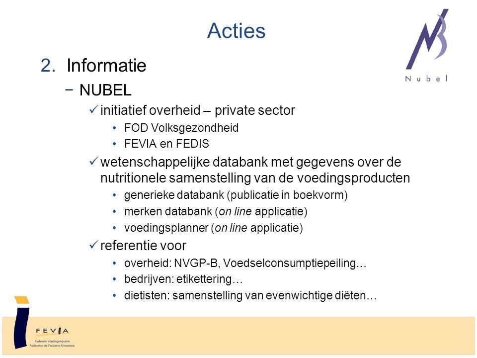 2. Informatie −NUBEL initiatief overheid – private sector FOD Volksgezondheid FEVIA en FEDIS wetenschappelijke databank met gegevens over de nutrition