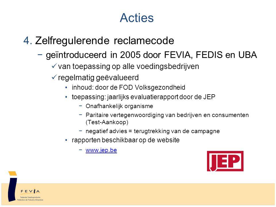 4. Zelfregulerende reclamecode −geïntroduceerd in 2005 door FEVIA, FEDIS en UBA van toepassing op alle voedingsbedrijven regelmatig geëvalueerd inhoud