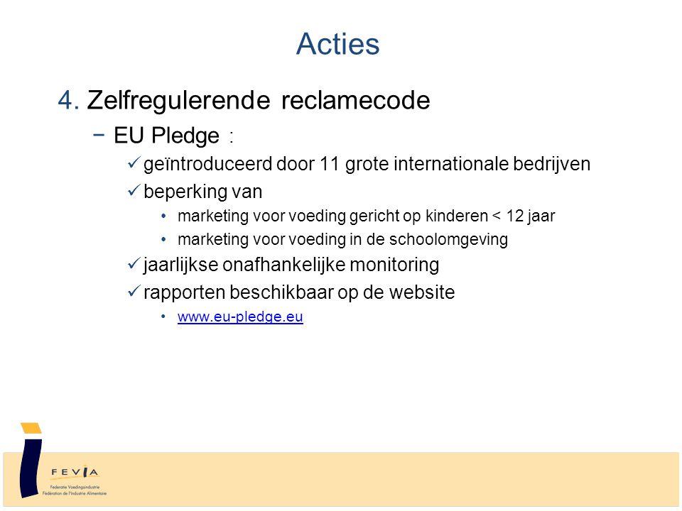 4. Zelfregulerende reclamecode −EU Pledge : geïntroduceerd door 11 grote internationale bedrijven beperking van marketing voor voeding gericht op kind