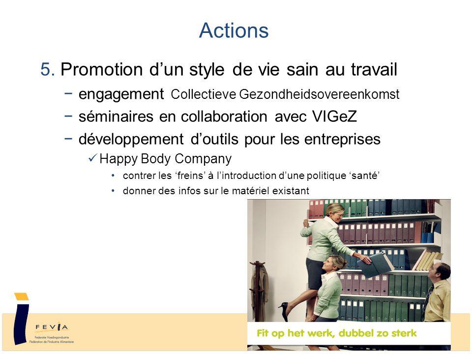 5. Promotion d'un style de vie sain au travail −engagement Collectieve Gezondheidsovereenkomst −séminaires en collaboration avec VIGeZ −développement