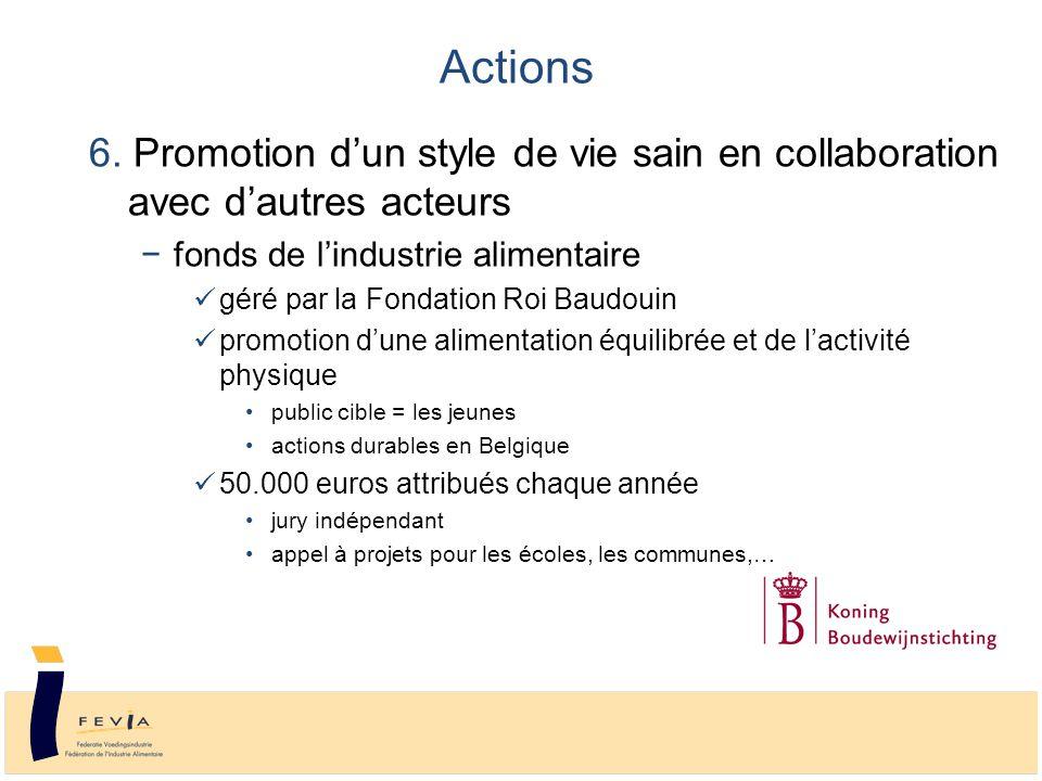 6. Promotion d'un style de vie sain en collaboration avec d'autres acteurs −fonds de l'industrie alimentaire géré par la Fondation Roi Baudouin promot