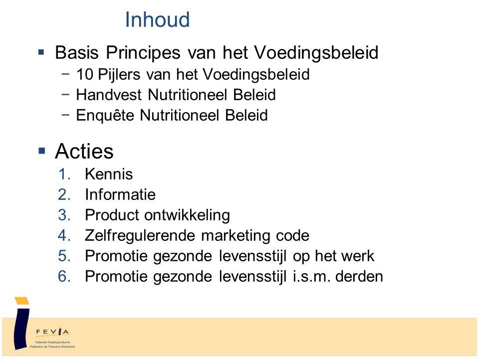 Basis principes Voedingsbeleid  10 Pijlers van het Voedingsbeleid Enkele basisprincipes de voedingsindustrie staat voor een gezonde levensstijl de voedingsindustrie produceert een breed spectrum aan producten alle producten hebben hun plaats in een evenwichtig dieet  10 Pijlers zijn omgezet in een Handvest