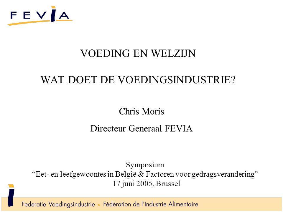 """VOEDING EN WELZIJN WAT DOET DE VOEDINGSINDUSTRIE? Symposium """"Eet- en leefgewoontes in België & Factoren voor gedragsverandering"""" 17 juni 2005, Brussel"""
