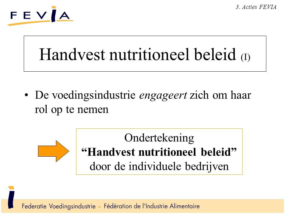 Handvest nutritioneel beleid (I) De voedingsindustrie engageert zich om haar rol op te nemen Ondertekening Handvest nutritioneel beleid door de individuele bedrijven 3.