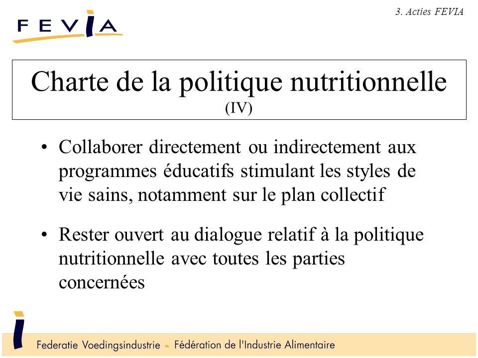 Charte de la politique nutritionnelle (IV) Collaborer directement ou indirectement aux programmes éducatifs stimulant les styles de vie sains, notamment sur le plan collectif Rester ouvert au dialogue relatif à la politique nutritionnelle avec toutes les parties concernées 3.