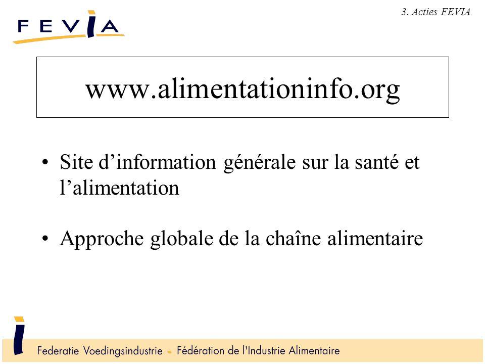 www.alimentationinfo.org Site d'information générale sur la santé et l'alimentation Approche globale de la chaîne alimentaire 3. Acties FEVIA