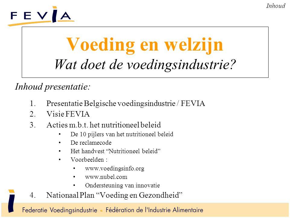 Voeding en welzijn Wat doet de voedingsindustrie? Inhoud presentatie: 1.Presentatie Belgische voedingsindustrie / FEVIA 2.Visie FEVIA 3.Acties m.b.t.