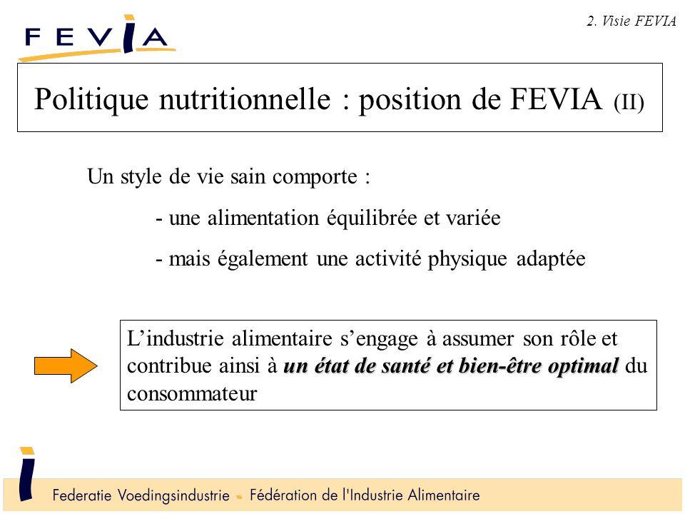 Politique nutritionnelle : position de FEVIA (II) 2. Visie FEVIA un état de santé et bien-être optimal L'industrie alimentaire s'engage à assumer son