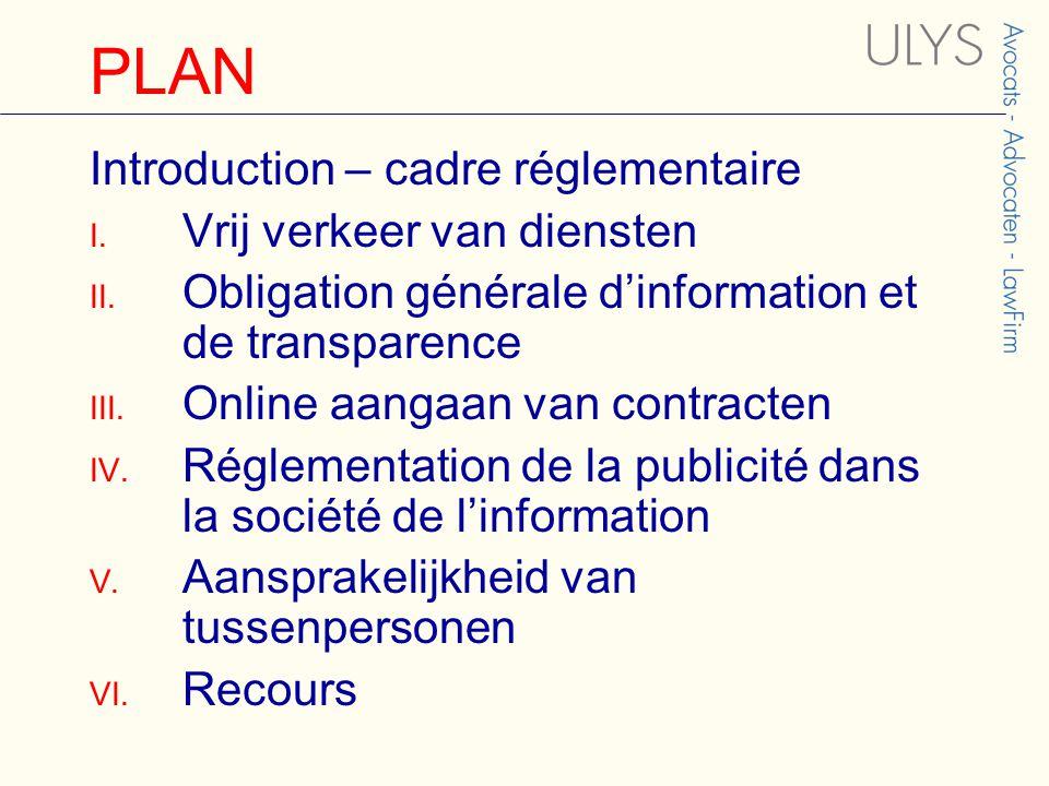 PLAN Introduction – cadre réglementaire I. Vrij verkeer van diensten II.