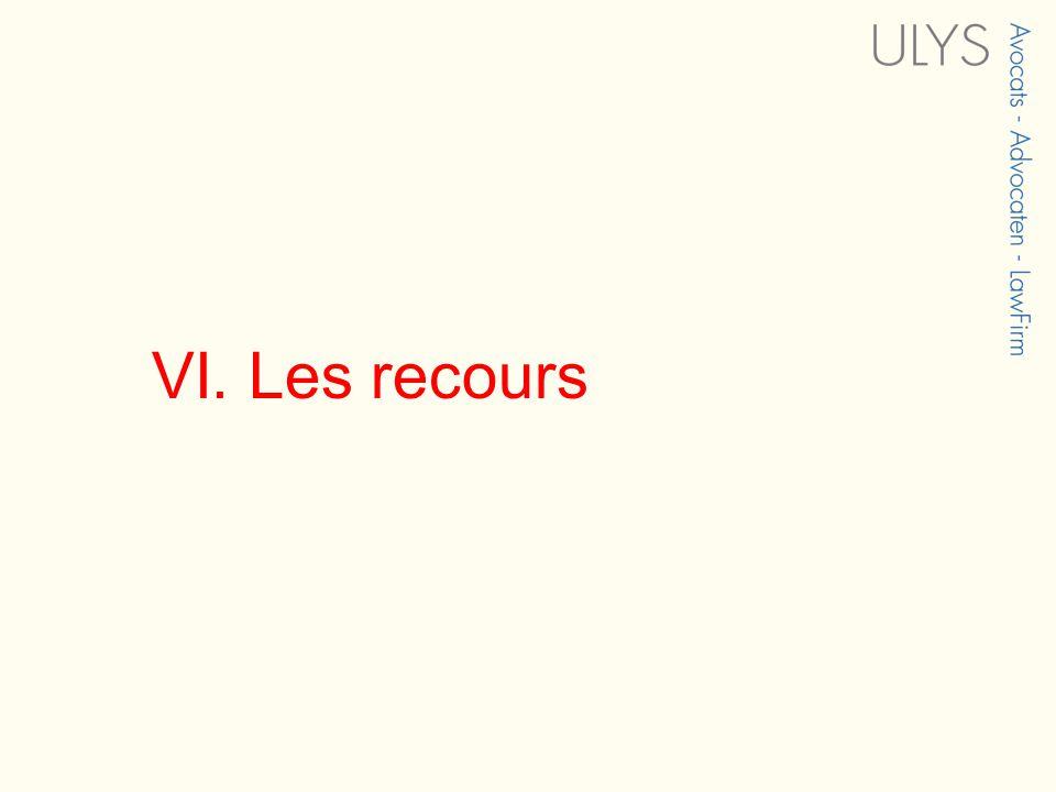 VI. Les recours