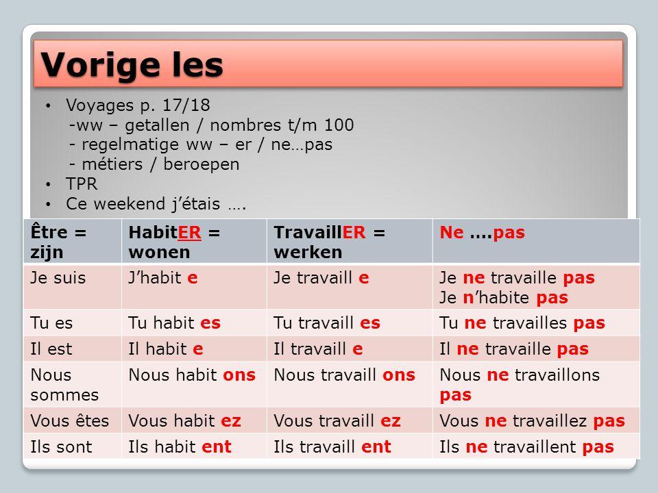 Vorige les Voyages p. 17/18 -ww – getallen / nombres t/m 100 - regelmatige ww – er / ne…pas - métiers / beroepen TPR Ce weekend j'étais …. Être = zijn