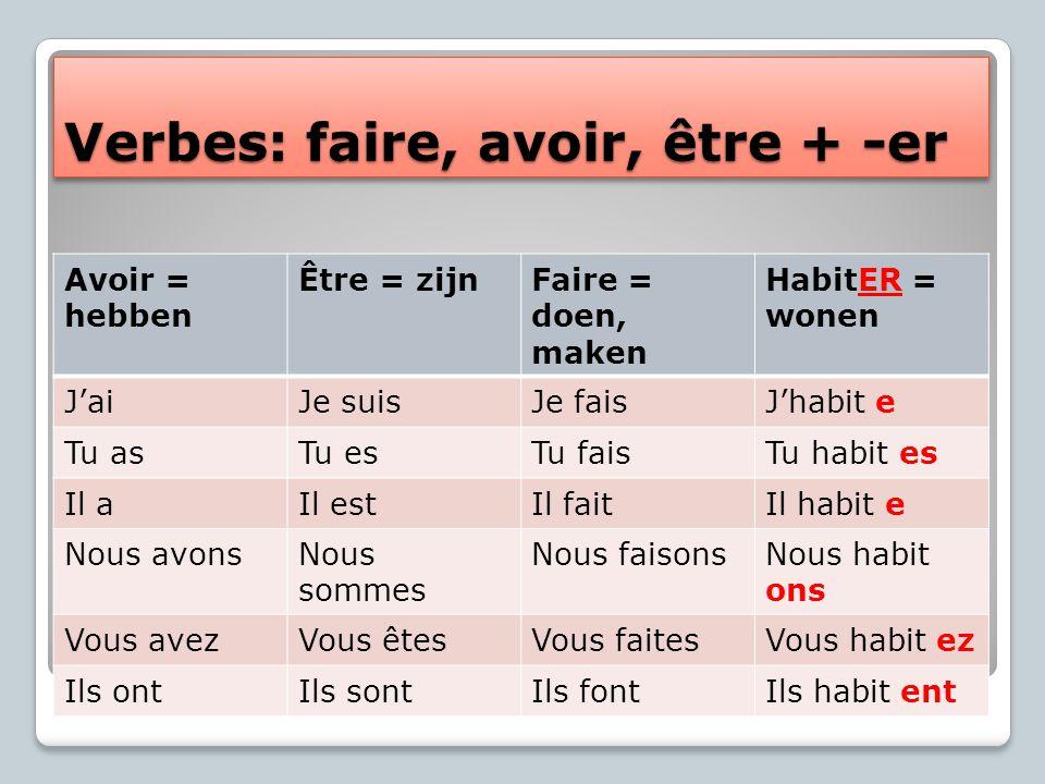 Verbes: faire, avoir, être + -er Avoir = hebben Être = zijnFaire = doen, maken HabitER = wonen J'aiJe suisJe faisJ'habit e Tu asTu esTu faisTu habit e