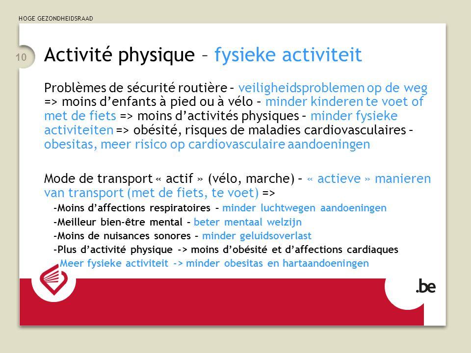 HOGE GEZONDHEIDSRAAD 10 Activité physique – fysieke activiteit Problèmes de sécurité routière – veiligheidsproblemen op de weg => moins d'enfants à pi