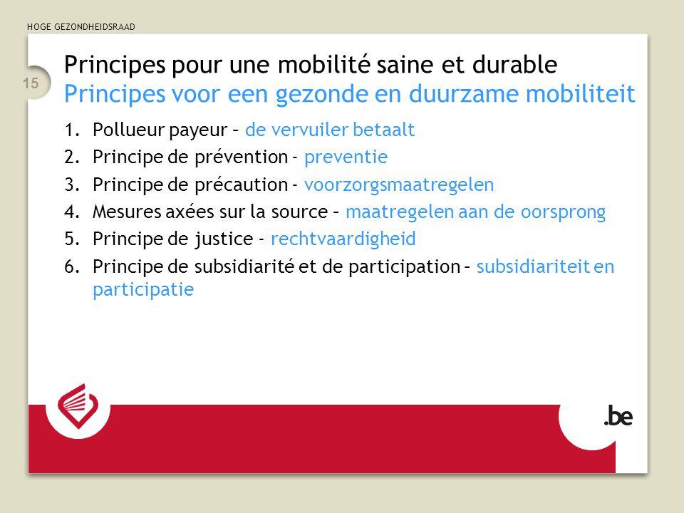 HOGE GEZONDHEIDSRAAD 15 Principes pour une mobilité saine et durable Principes voor een gezonde en duurzame mobiliteit 1.Pollueur payeur – de vervuiler betaalt 2.Principe de prévention - preventie 3.Principe de précaution - voorzorgsmaatregelen 4.Mesures axées sur la source – maatregelen aan de oorsprong 5.Principe de justice - rechtvaardigheid 6.Principe de subsidiarité et de participation – subsidiariteit en participatie