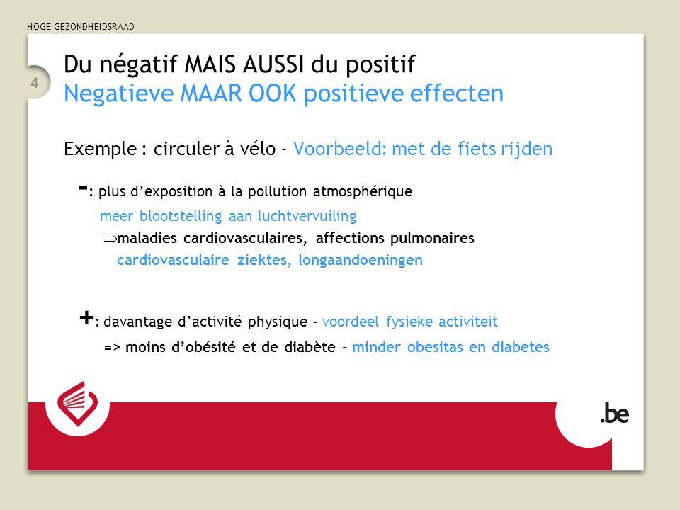 HOGE GEZONDHEIDSRAAD 4 Du négatif MAIS AUSSI du positif Negatieve MAAR OOK positieve effecten Exemple : circuler à vélo - Voorbeeld: met de fiets rijden - : plus d'exposition à la pollution atmosphérique meer blootstelling aan luchtvervuiling  maladies cardiovasculaires, affections pulmonaires cardiovasculaire ziektes, longaandoeningen + : davantage d'activité physique - voordeel fysieke activiteit => moins d'obésité et de diabète - minder obesitas en diabetes