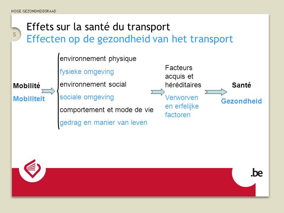 HOGE GEZONDHEIDSRAAD 5 Effets sur la santé du transport Effecten op de gezondheid van het transport environnement physique fysieke omgeving environnem