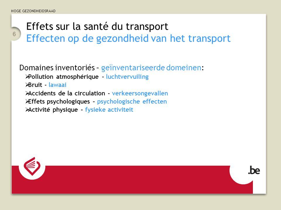 HOGE GEZONDHEIDSRAAD 6 Effets sur la santé du transport Effecten op de gezondheid van het transport Domaines inventoriés – geïnventariseerde domeinen: