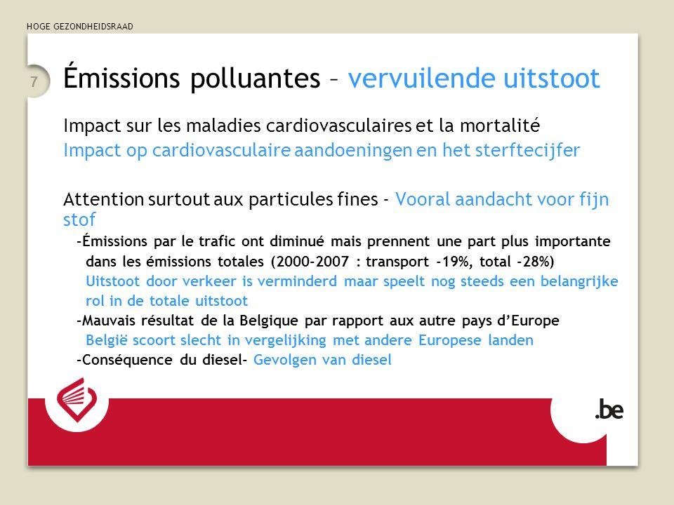 HOGE GEZONDHEIDSRAAD 7 Émissions polluantes – vervuilende uitstoot Impact sur les maladies cardiovasculaires et la mortalité Impact op cardiovasculair